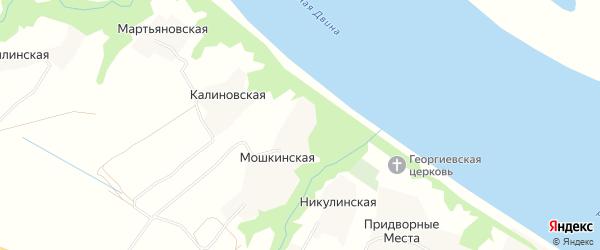 Карта Мошкинской деревни в Архангельской области с улицами и номерами домов