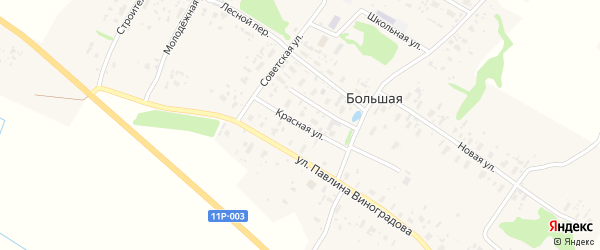 Красная улица на карте Большей деревни с номерами домов