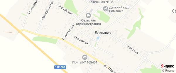 Улица Космонавтов на карте Большей деревни с номерами домов
