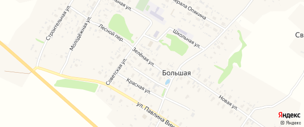 Зеленая улица на карте Большей деревни с номерами домов
