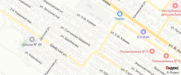 Переулок Энтузиастов на карте Грозного с номерами домов