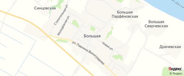 Карта Большей деревни в Архангельской области с улицами и номерами домов