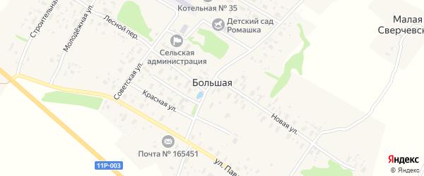 Улица П.Виноградова на карте Большей деревни с номерами домов