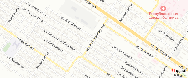 Улица им А.М.Кайсарова на карте Грозного с номерами домов