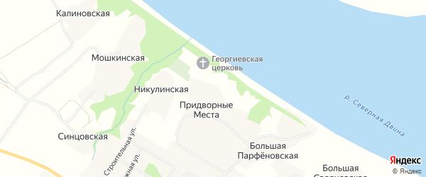 Карта деревни Придворные Места в Архангельской области с улицами и номерами домов