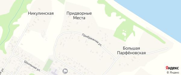 Прибрежная улица на карте Большей деревни с номерами домов