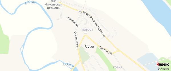 Карта села Суры в Архангельской области с улицами и номерами домов