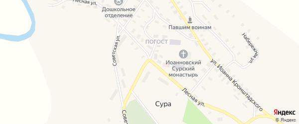 Советская улица на карте села Суры с номерами домов
