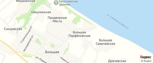 Карта Большей Парфеновской деревни в Архангельской области с улицами и номерами домов