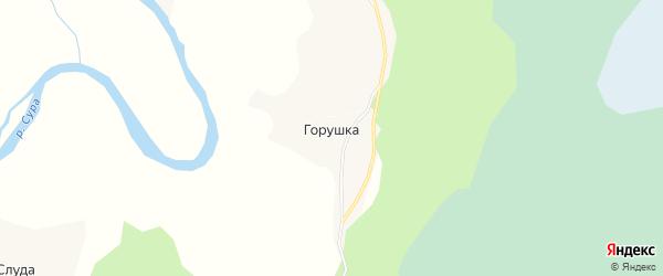Карта деревни Горушки в Архангельской области с улицами и номерами домов