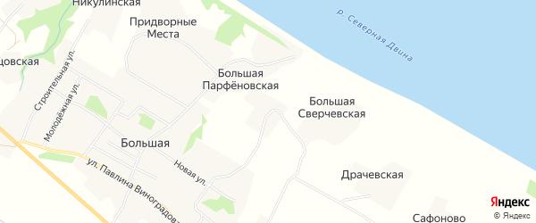 Карта Малой Сверчевской деревни в Архангельской области с улицами и номерами домов