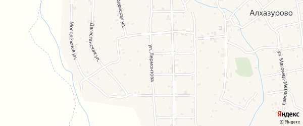 Улица Лермонтова на карте села Алхазурово с номерами домов