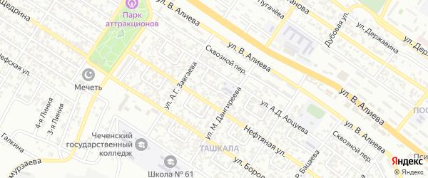 Ташкалинский 5-й переулок на карте Грозного с номерами домов