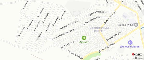 Байкальский 3-й переулок на карте Грозного с номерами домов