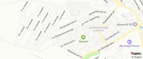 Кавказский 3-й переулок на карте Грозного с номерами домов