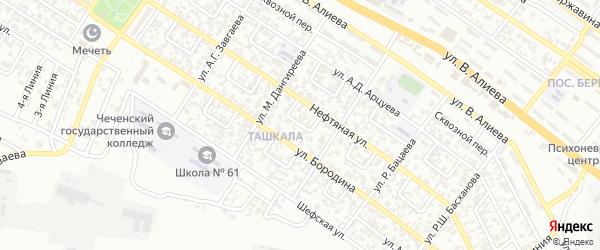 Архитекторов 3-й переулок на карте Грозного с номерами домов