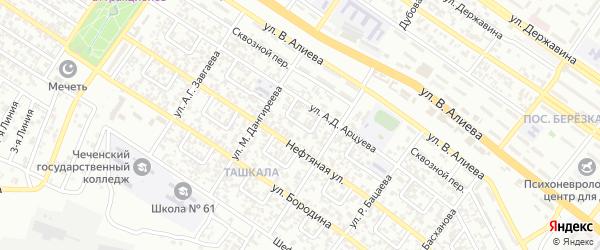 Ташкалинский 4-й переулок на карте Грозного с номерами домов