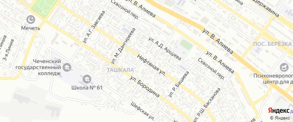 Нефтяная улица на карте Грозного с номерами домов