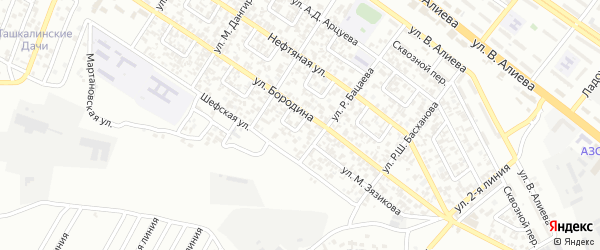 Им Бородина 1-й переулок на карте Грозного с номерами домов