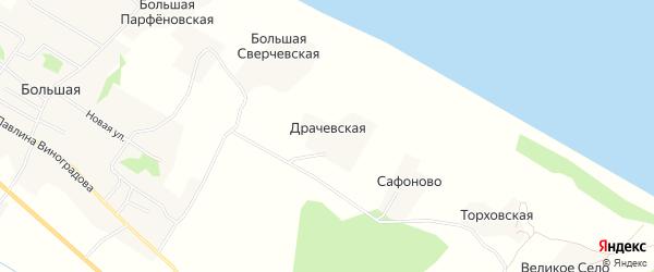Карта Драчевской деревни в Архангельской области с улицами и номерами домов