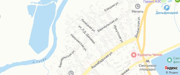 Улица им Л.Д.Даниева на карте Грозного с номерами домов