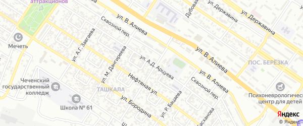 Ташкалинская улица на карте Грозного с номерами домов