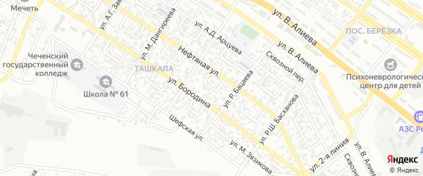 Нефтяной 2-й переулок на карте Грозного с номерами домов