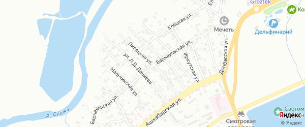Липецкая улица на карте Грозного с номерами домов