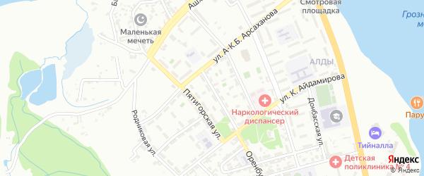 Оренбургская улица на карте Грозного с номерами домов