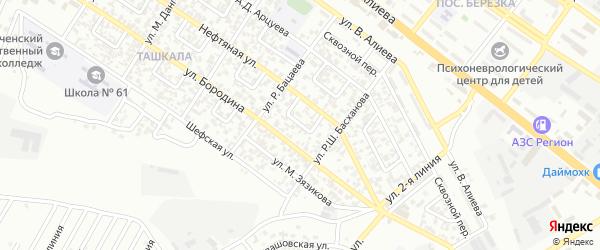 Нефтяной 1-й переулок на карте Грозного с номерами домов