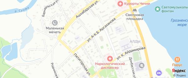 Новосибирская улица на карте Грозного с номерами домов