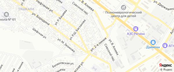 Ташкалинский 1-й переулок на карте Грозного с номерами домов