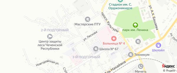 Переулок им Лескова на карте Грозного с номерами домов