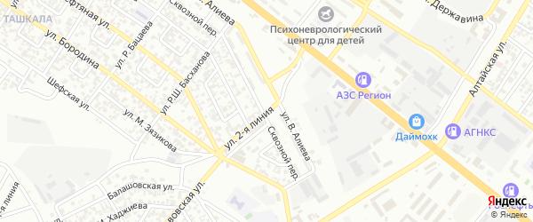 Горячеводская 2-я улица на карте Грозного с номерами домов