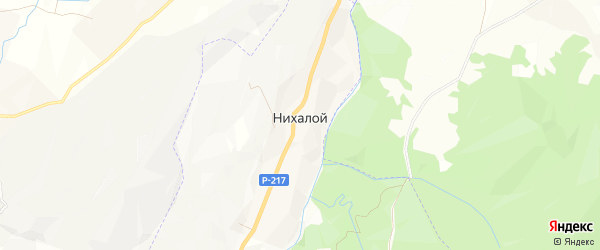 Карта села Нихалой в Чечне с улицами и номерами домов