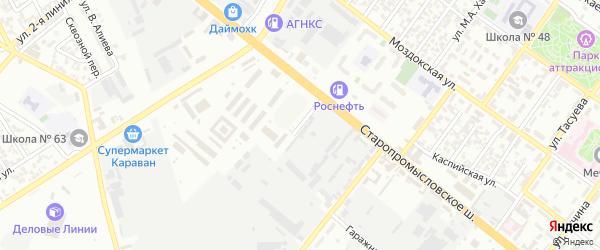 Волжский 2-й переулок на карте Грозного с номерами домов