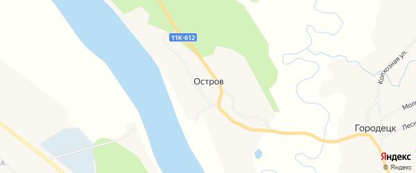 Карта деревни Острова в Архангельской области с улицами и номерами домов