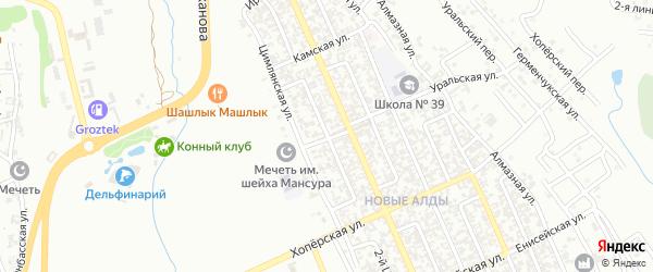 Цимлянский 3-й переулок на карте Грозного с номерами домов