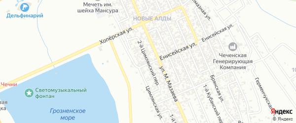 Цимлянский 2-й переулок на карте Грозного с номерами домов