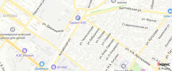 Улица Челюскинцев на карте Грозного с номерами домов