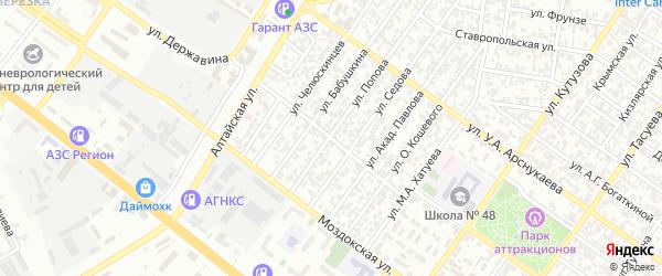 Улица Нефтяников на карте Грозного с номерами домов