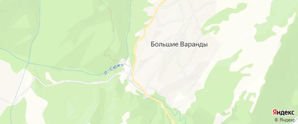 Карта села Большие Варандов в Чечне с улицами и номерами домов