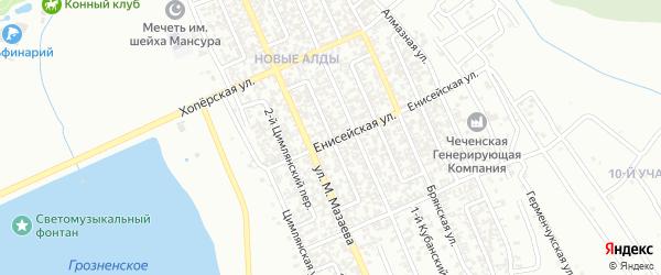 Брянский 2-й переулок на карте Грозного с номерами домов