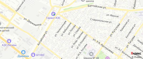 Улица Попова на карте Грозного с номерами домов