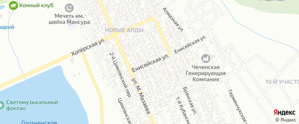Енисейская улица на карте Грозного с номерами домов