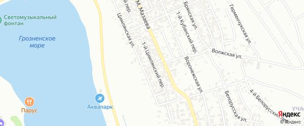 Цимлянский 1-й переулок на карте Грозного с номерами домов