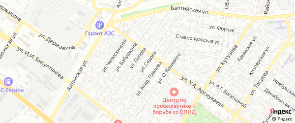 Улица Седова на карте Грозного с номерами домов