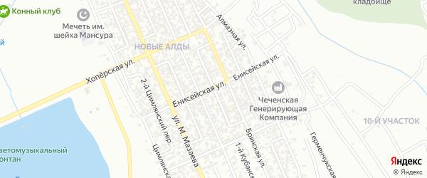 М.Мазаева 3-й переулок на карте Грозного с номерами домов