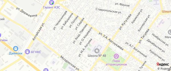 Улица им Кошевого на карте Грозного с номерами домов