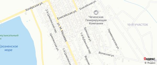 Кубанская улица на карте Грозного с номерами домов